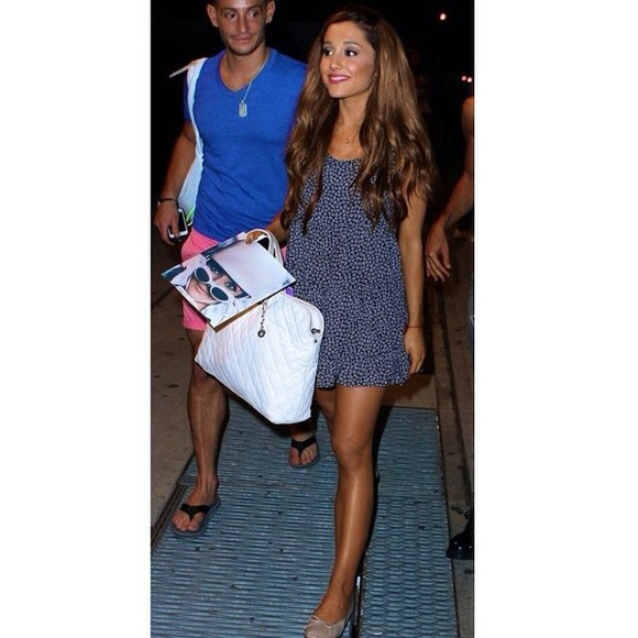 dress navy dress floral dress ariana grande summer dress