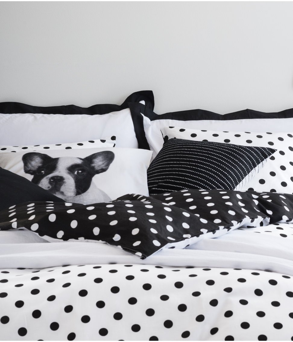 Black and white polka dot duvet quilt cover 2pc set twin 100% cotton reversible