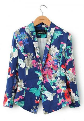 Women's trendy lapel long sleeve floral blazer online