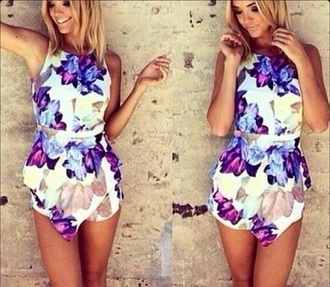 romper white purple blue dress summer cute summer romper cute romper cuteness white romper purple romper blue romper