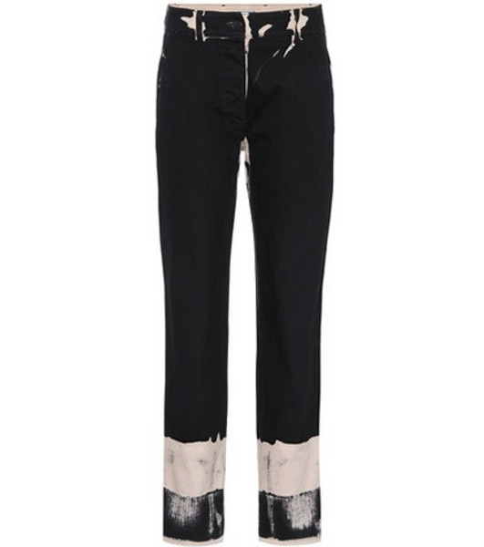 Prada Printed cotton trousers in black