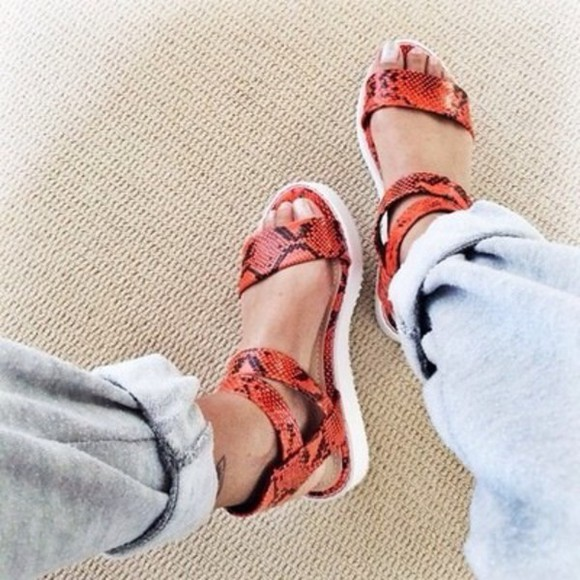 shoes snake print strappy red platform sandals orange sandals print white pants flatforms snake print strappy sandals orange snake skin sandals style black slide sandal slide on