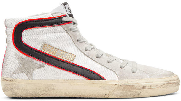 Golden goose mesh high sneakers white shoes