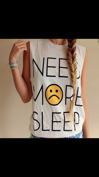 shirt cutoff shirt sleep t-shirt white shirt need more sleep