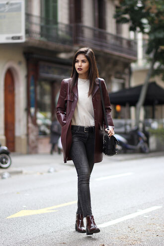 fake leather blogger make-up leather chelsea boots grey jeans coat sweater shoes jeans jewels belt