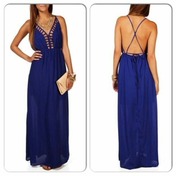 dress maxi dress royal blue dress open back