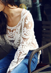 blouse,jeans,top,transparent top,long sleeves,floral,white flowers,casual