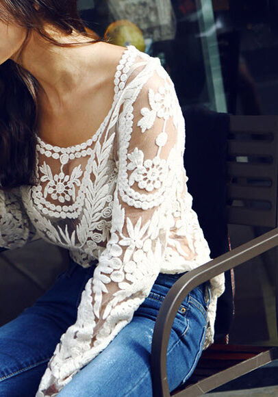 transparent top top jeans long sleeves flowers prints white flowers simple casual blouse