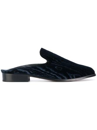 women mules leather blue velvet shoes