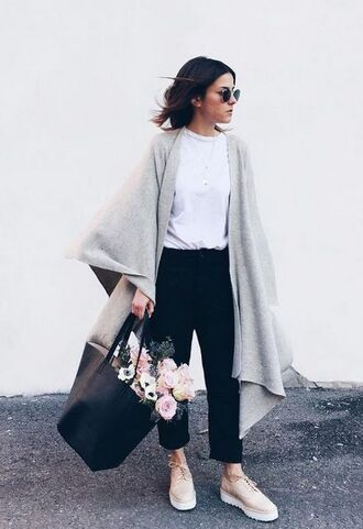 sunglasses white t-shirt grey poncho black trousers nude oxford shoes blogger round sunglasses