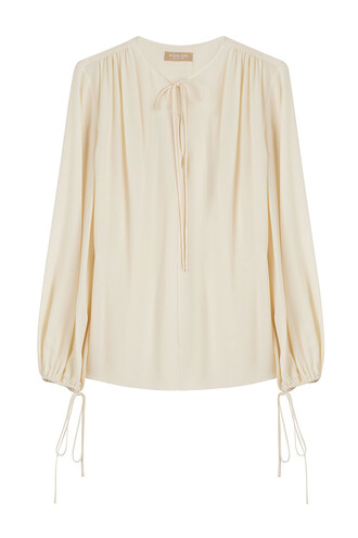 blouse draped silk beige top
