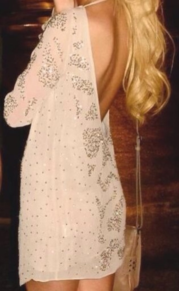 dress nude dress embellished dress rhinestones open back backless dress beige dress glitter dress