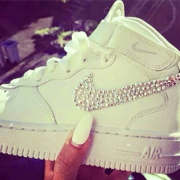 shoes nike white sparkle glitter cute dope dope shit flee trill nails white nails high top sneakers classic white nike airforce diamond swoosh sneakers