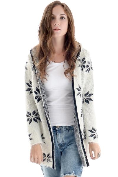 Floral Pattern Open-Front Long Knit Cardigan - OASAP.com