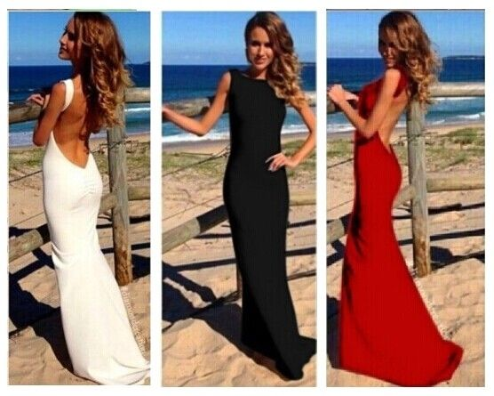 UK Women Long Formal Sleeveless Prom Bare Back Evening Party Bodycon Maxi Dress