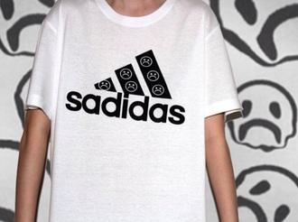 shirt black saddidas sad woman girl tumblr