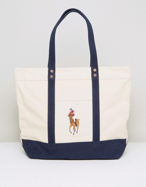 d439e5e612 Polo Ralph Lauren Canvas Tote Bag in Natural at asos.com