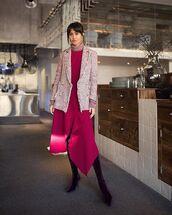 shoes,over the knee boots,asymmetrical dress,pink dress,pink blazer