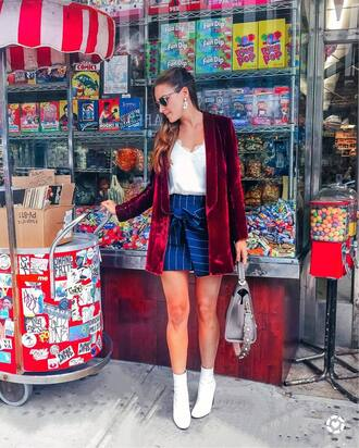 skirt tumblr mini skirt blue skirt stripes striped skirt jacket blazer velvet boots white boots ankle boots