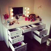 table,make-up,makeup table,furniture,mirror,home accessory,girly,desk,white,makeup dresser,makeup drawer,white multishelved vanity/desk,beautiful,home decor