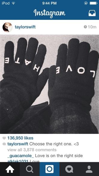 gloves hate love black white taylor swift