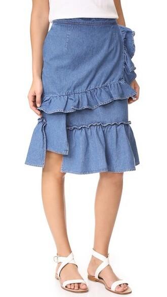 skirt denim skirt denim ruffle dark blue dark blue