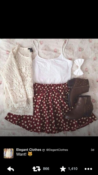 skirt burgundy heart pattern sweater white crochet shoes booties low heal brown studded zip