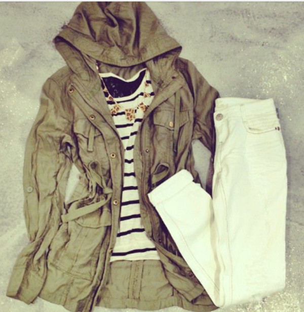 army green jacket stripes necklace white jeans army green jacket