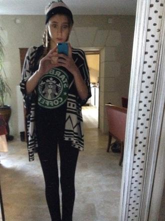 shirt starbucks coffee h&m jeans black jeans black shirt green shirt