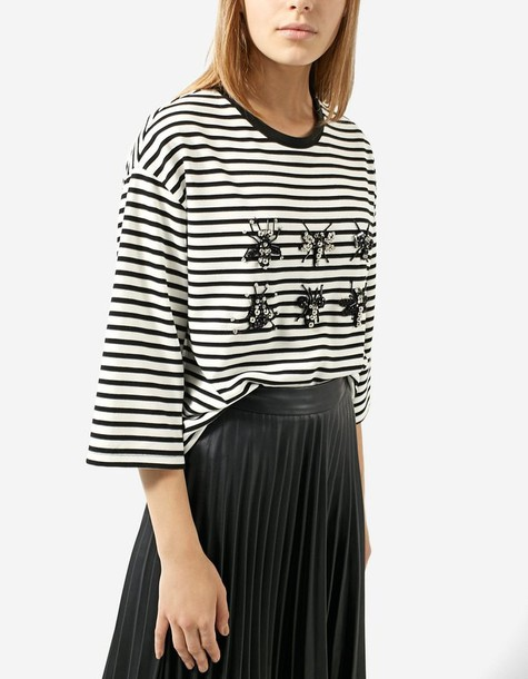 Stradivarius t-shirt shirt striped t-shirt t-shirt black top