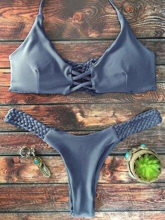swimwear bikini grey gray bikini bikini top braided braided bikini straps