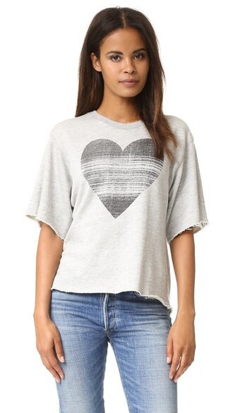 heart grey heather grey top