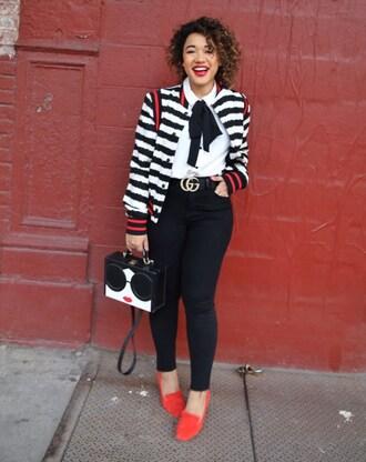 colormecourtney blogger belt shoes blouse gucci belt loafers bomber jacket black jeans red loafers plus size jeans curvy plus size