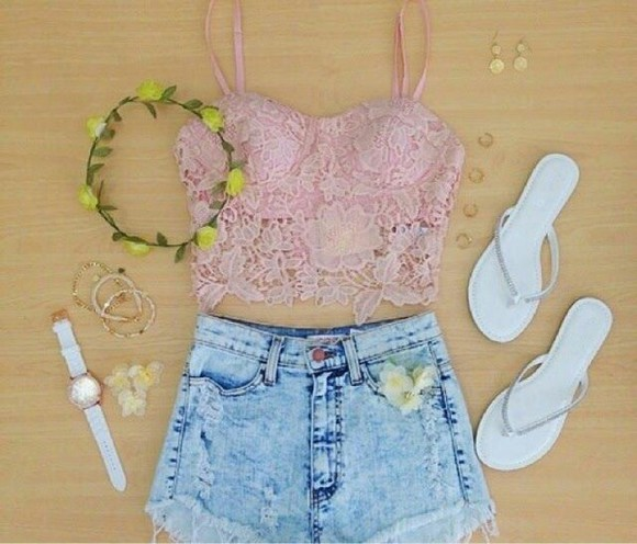 floral headband flower crown blouse bralet top pink lace bra lace bralette denim shorts summer outfits