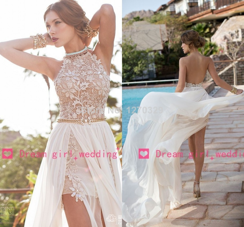 2014 New Arrival Sexy White Chiffon Beaded Appliques Lace Prom Dresses Long Halter Side Slit Spring Evening Party Gown BO5557-in Prom Dresses from Apparel & Accessories on Aliexpress.com