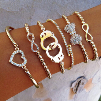jewels heart infinity studs bows bow ties hand cuffs bangles beaded stacked jewelry