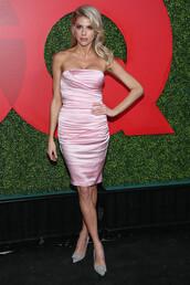 shoes,pink,pink dress,strapless dress,charlotte mckinney