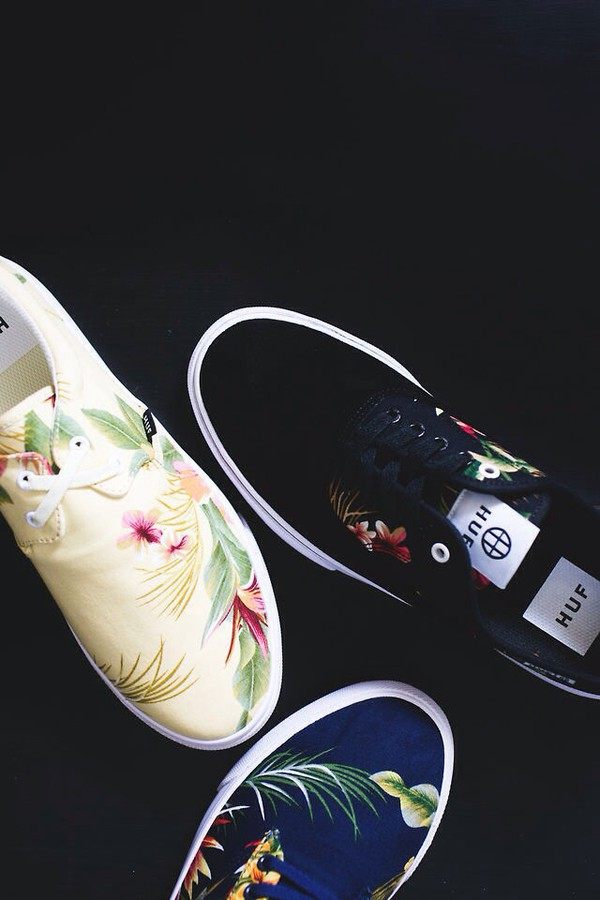 shoes huf sneakers floral
