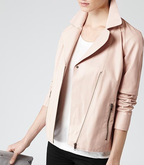 Soft Pink Leather Biker Jacket - REISS