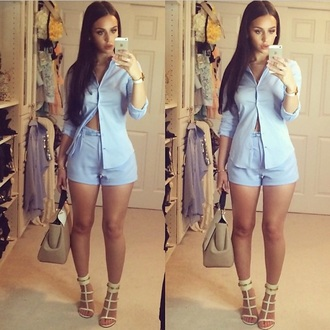 blouse shorts two-piece t-shirt gloves shoes