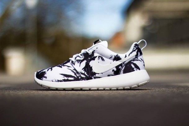 a23b06a708d9 black and white nike nike shoes nike running shoes floral shoes palm tree  print sports shoes