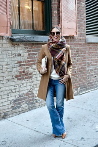 my style pill blogger bag flare jeans blanket scarf camel coat