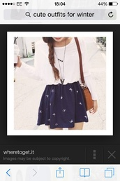 skirt,birds,navy