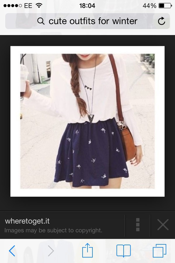 skirt birds navy