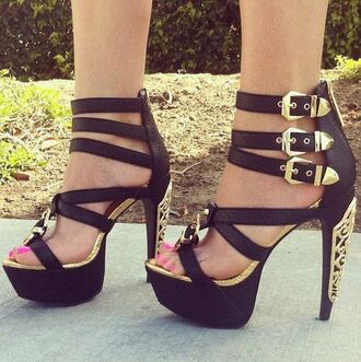 shoes high heels heels gold black leather buckles straps