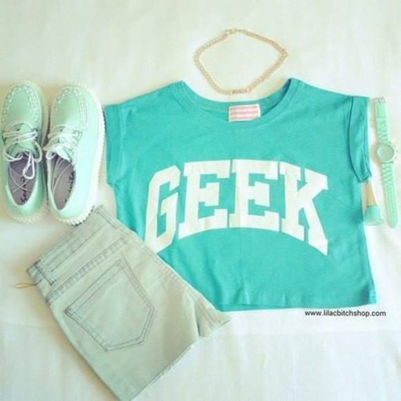 mint geek blouse tshirt jewels shirt shorts geeky