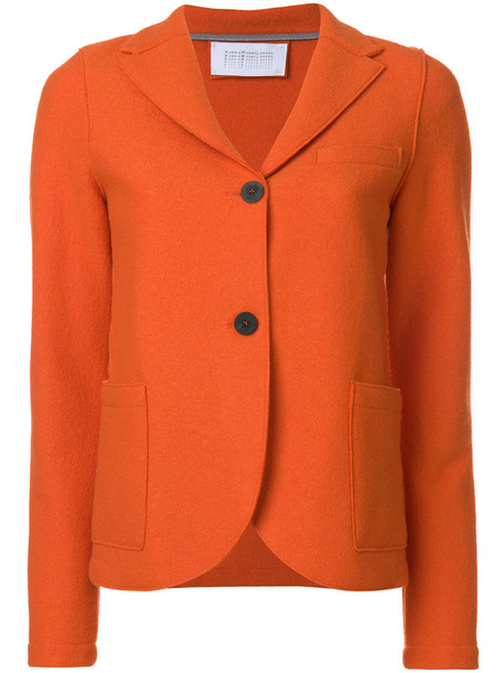 blazer women wool yellow orange jacket