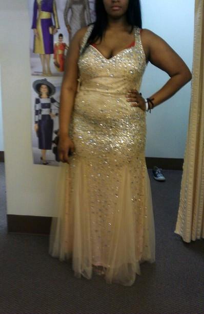 dress champagne beaded prom open back long