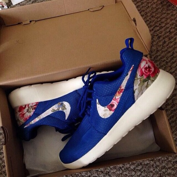 Cheap Buy Shoes: roshe nike blue floral mesh, nike sneakers, nike roshe run