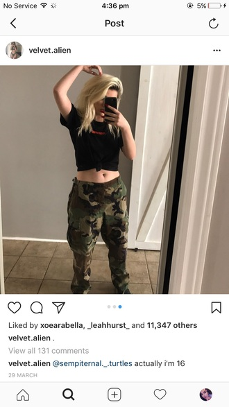 pants velvet alien madeline camouflage baggy military style